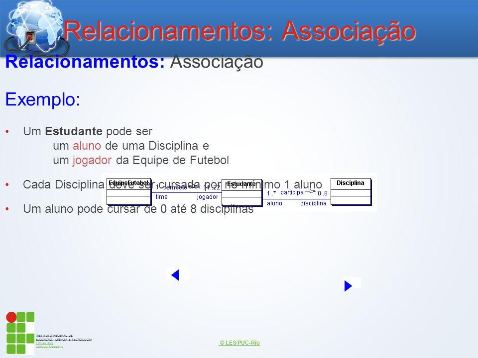 INSTITUTO FEDERAL DE EDUCAÇÃO, CIÊNCIA E TECNOLOGIA TOCANTINS Campus Araguaína Relacionamentos: Associação © LES/PUC-Rio Relacionamentos: Associação E