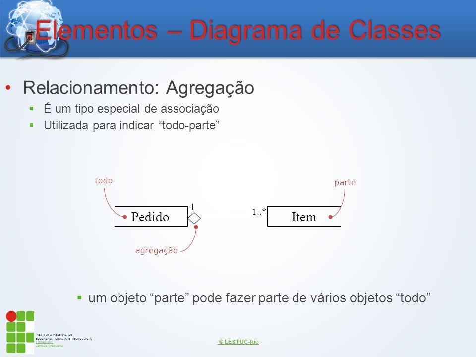 INSTITUTO FEDERAL DE EDUCAÇÃO, CIÊNCIA E TECNOLOGIA TOCANTINS Campus Araguaína Elementos – Diagrama de Classes Relacionamento: Agregação  É um tipo e