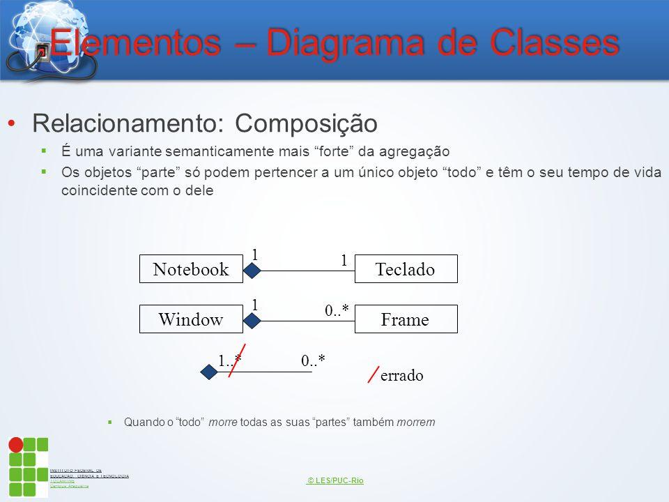INSTITUTO FEDERAL DE EDUCAÇÃO, CIÊNCIA E TECNOLOGIA TOCANTINS Campus Araguaína Elementos – Diagrama de Classes Relacionamento: Composição  É uma vari