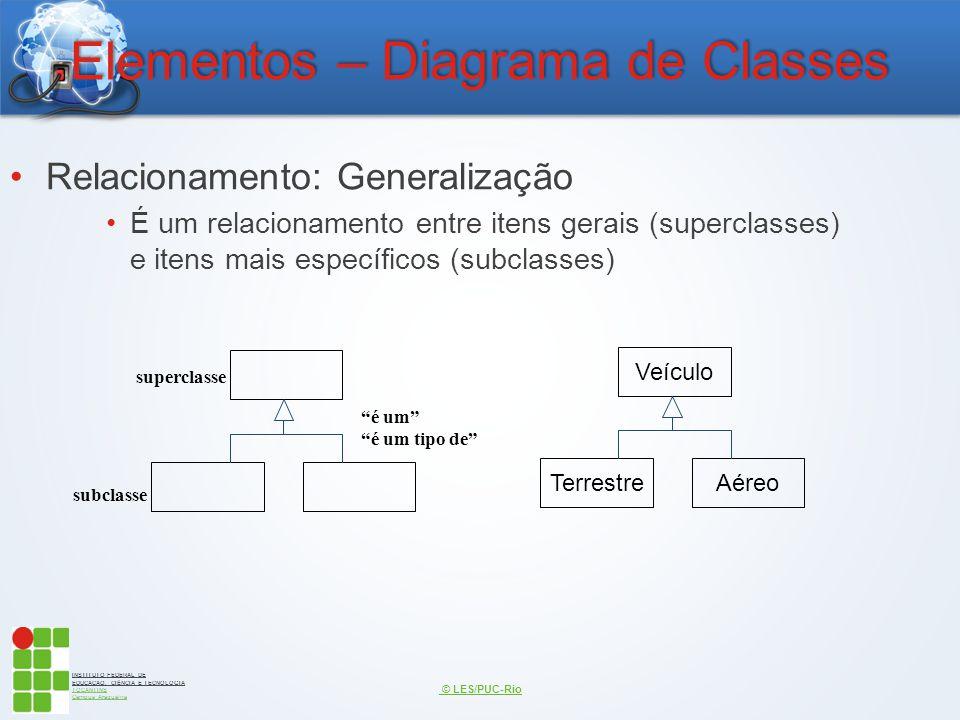 INSTITUTO FEDERAL DE EDUCAÇÃO, CIÊNCIA E TECNOLOGIA TOCANTINS Campus Araguaína Elementos – Diagrama de Classes Relacionamento: Generalização É um rela