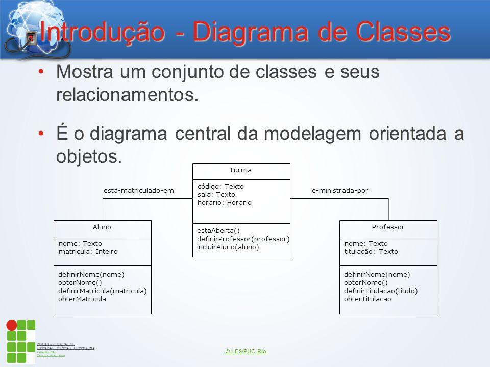 INSTITUTO FEDERAL DE EDUCAÇÃO, CIÊNCIA E TECNOLOGIA TOCANTINS Campus Araguaína Introdução - Diagrama de Classes Mostra um conjunto de classes e seus r