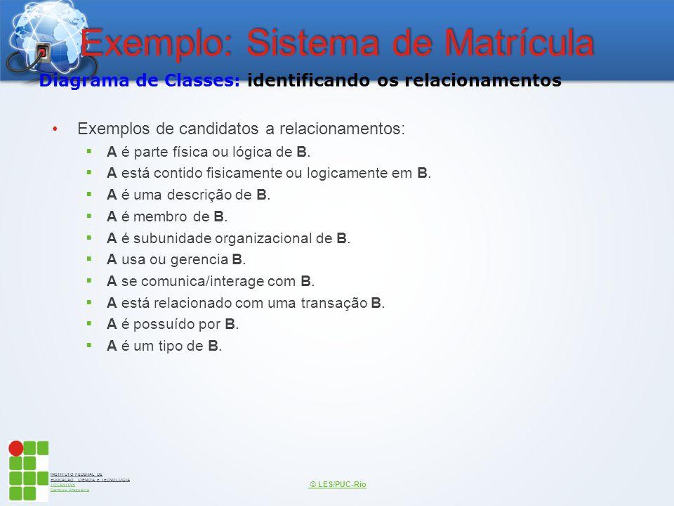INSTITUTO FEDERAL DE EDUCAÇÃO, CIÊNCIA E TECNOLOGIA TOCANTINS Campus Araguaína Exemplo: Sistema de Matrícula Exemplos de candidatos a relacionamentos: