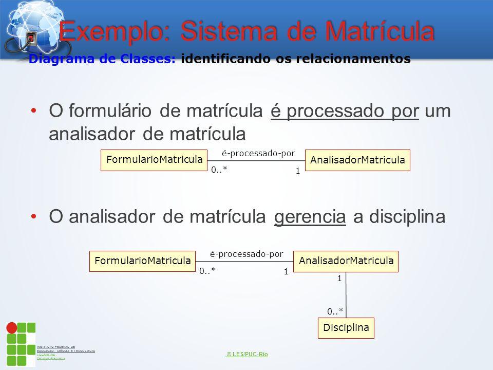 INSTITUTO FEDERAL DE EDUCAÇÃO, CIÊNCIA E TECNOLOGIA TOCANTINS Campus Araguaína Exemplo: Sistema de Matrícula O formulário de matrícula é processado po