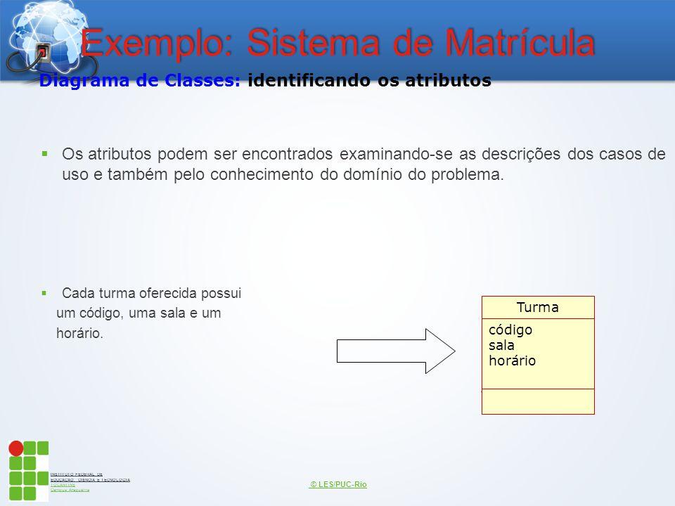 INSTITUTO FEDERAL DE EDUCAÇÃO, CIÊNCIA E TECNOLOGIA TOCANTINS Campus Araguaína Exemplo: Sistema de Matrícula  Os atributos podem ser encontrados exam