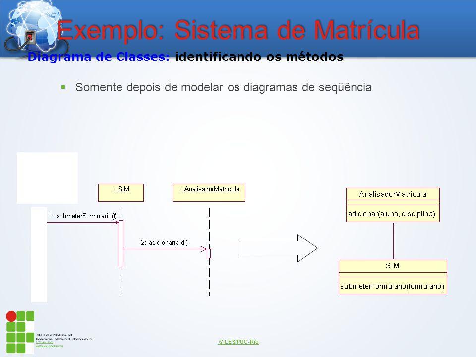 INSTITUTO FEDERAL DE EDUCAÇÃO, CIÊNCIA E TECNOLOGIA TOCANTINS Campus Araguaína Exemplo: Sistema de Matrícula  Somente depois de modelar os diagramas