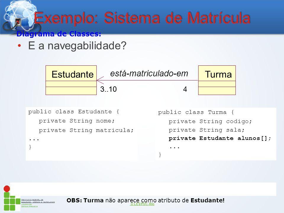 INSTITUTO FEDERAL DE EDUCAÇÃO, CIÊNCIA E TECNOLOGIA TOCANTINS Campus Araguaína Exemplo: Sistema de Matrícula E a navegabilidade? © LES/PUC-Rio public