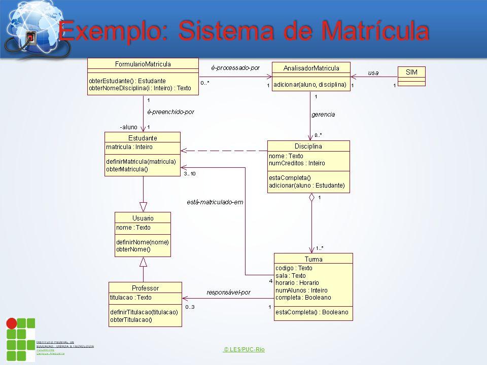 INSTITUTO FEDERAL DE EDUCAÇÃO, CIÊNCIA E TECNOLOGIA TOCANTINS Campus Araguaína Exemplo: Sistema de Matrícula © LES/PUC-Rio