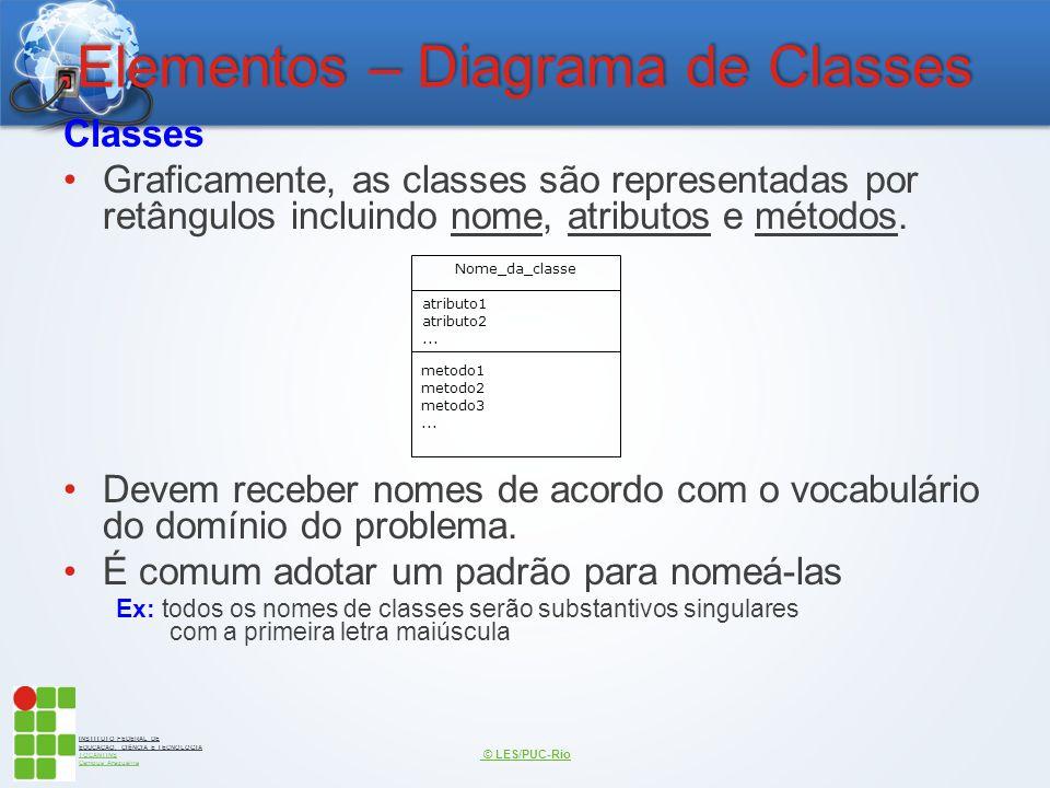 INSTITUTO FEDERAL DE EDUCAÇÃO, CIÊNCIA E TECNOLOGIA TOCANTINS Campus Araguaína Elementos – Diagrama de Classes Classes Graficamente, as classes são re