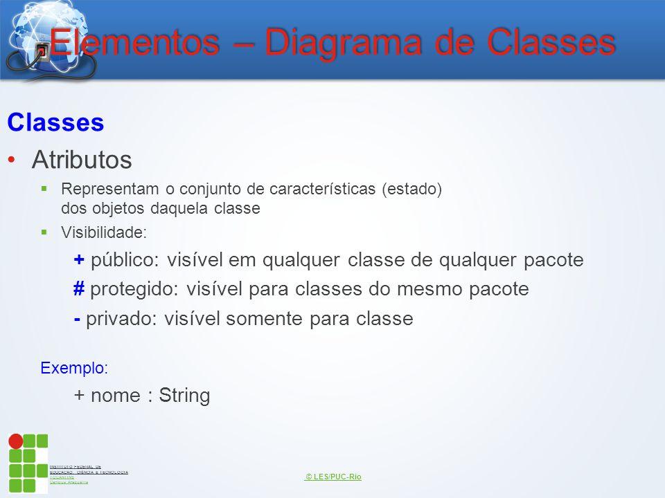 INSTITUTO FEDERAL DE EDUCAÇÃO, CIÊNCIA E TECNOLOGIA TOCANTINS Campus Araguaína Elementos – Diagrama de Classes Classes Atributos  Representam o conju