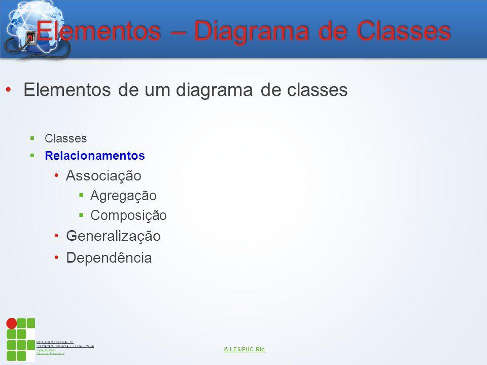 INSTITUTO FEDERAL DE EDUCAÇÃO, CIÊNCIA E TECNOLOGIA TOCANTINS Campus Araguaína Elementos – Diagrama de Classes Elementos de um diagrama de classes  C