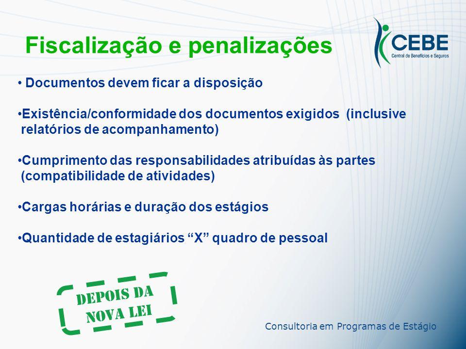 Fiscalização e penalizações Antes da Nova Lei Exigência de documentação e interpretação qualitativa do estágio sem embasamento técnico/educacional MPT