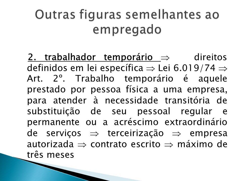 1. trabalhador avulso: quem presta serviço para inúmeras empresas, agrupado em entidade intermediária (antigamente eram sindicatos), por intermédio de