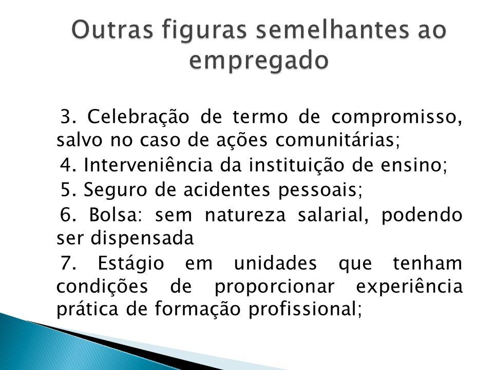 Para validade do contrato de estágio devem estar presentes os seguintes elementos (lei 6494/1977): 1. Partes envolvidas: estudante-trabalhador e tomad