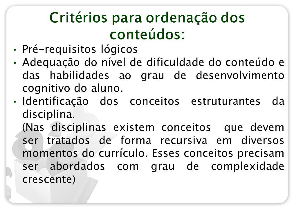 Critérios para ordenação dos conteúdos: Pré-requisitos lógicos Adequação do nível de dificuldade do conteúdo e das habilidades ao grau de desenvolvime