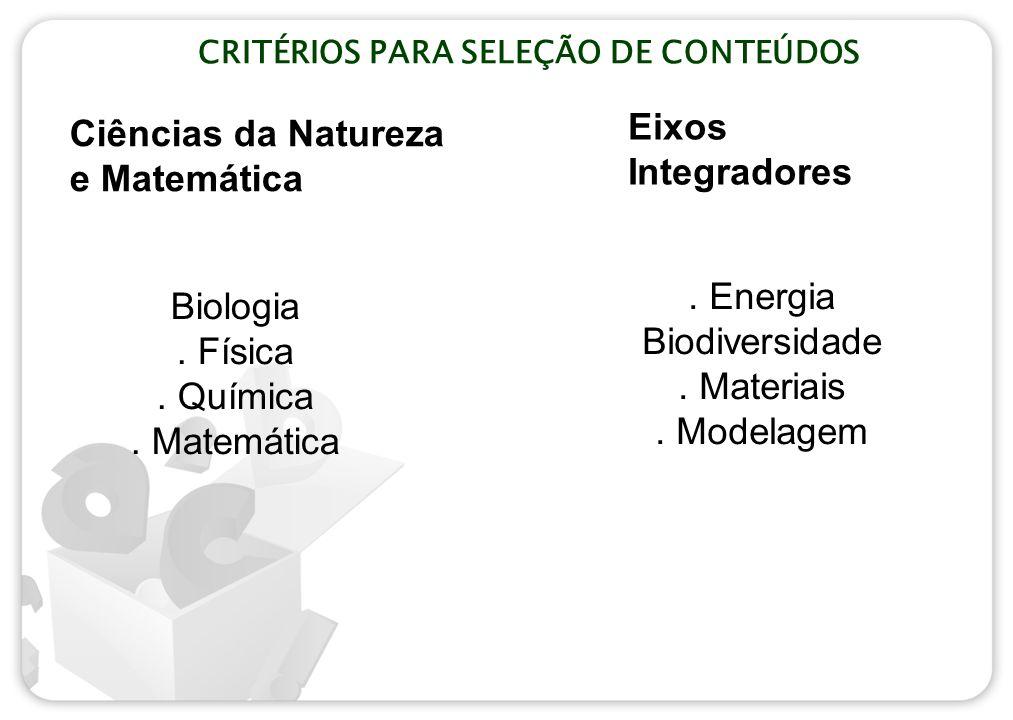 CRITÉRIOS PARA SELEÇÃO DE CONTEÚDOS. Energia Biodiversidade. Materiais. Modelagem Ciências da Natureza e Matemática Eixos Integradores Biologia. Físic