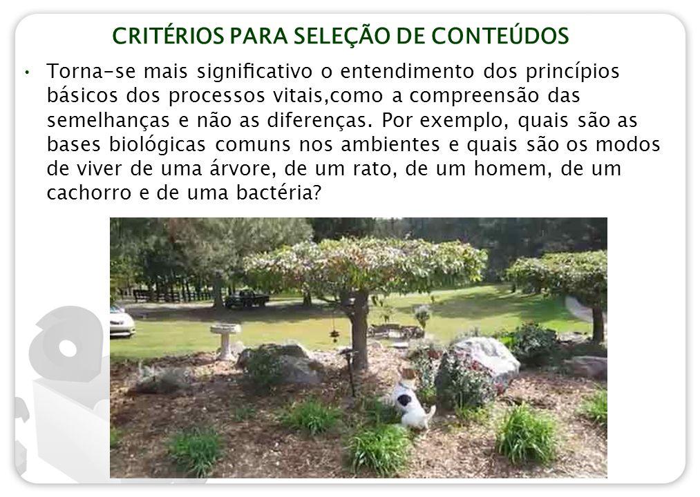 CRITÉRIOS PARA SELEÇÃO DE CONTEÚDOS Torna-se mais significativo o entendimento dos princípios básicos dos processos vitais,como a compreensão das semel