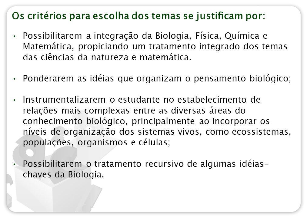 Os critérios para escolha dos temas se justificam por: Possibilitarem a integração da Biologia, Física, Química e Matemática, propiciando um tratamento
