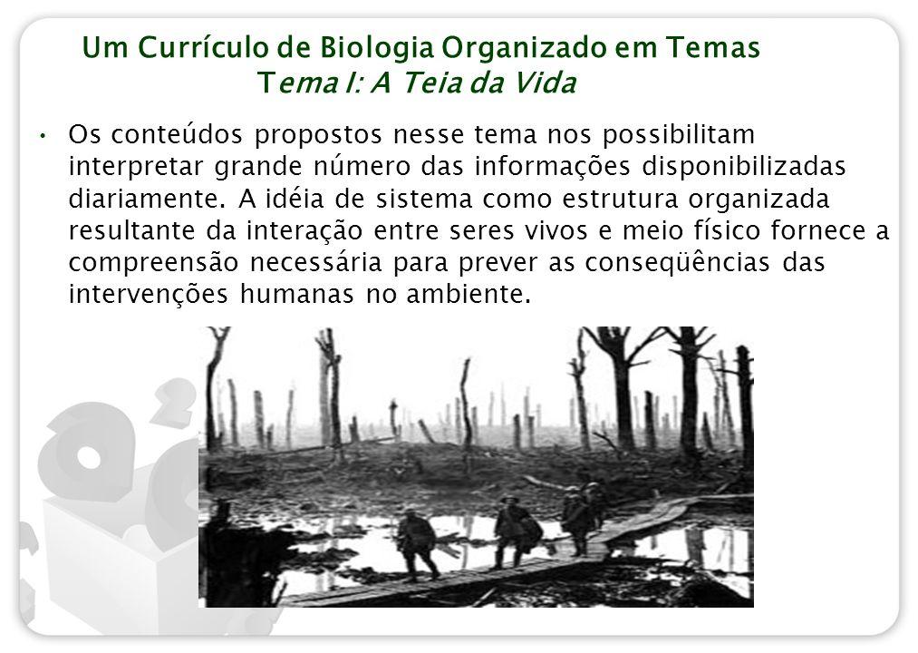 Um Currículo de Biologia Organizado em Temas Tema I: A Teia da Vida Os conteúdos propostos nesse tema nos possibilitam interpretar grande número das i
