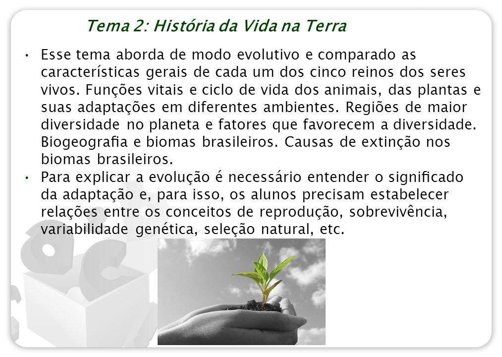 Tema 2: História da Vida na Terra Esse tema aborda de modo evolutivo e comparado as características gerais de cada um dos cinco reinos dos seres vivos