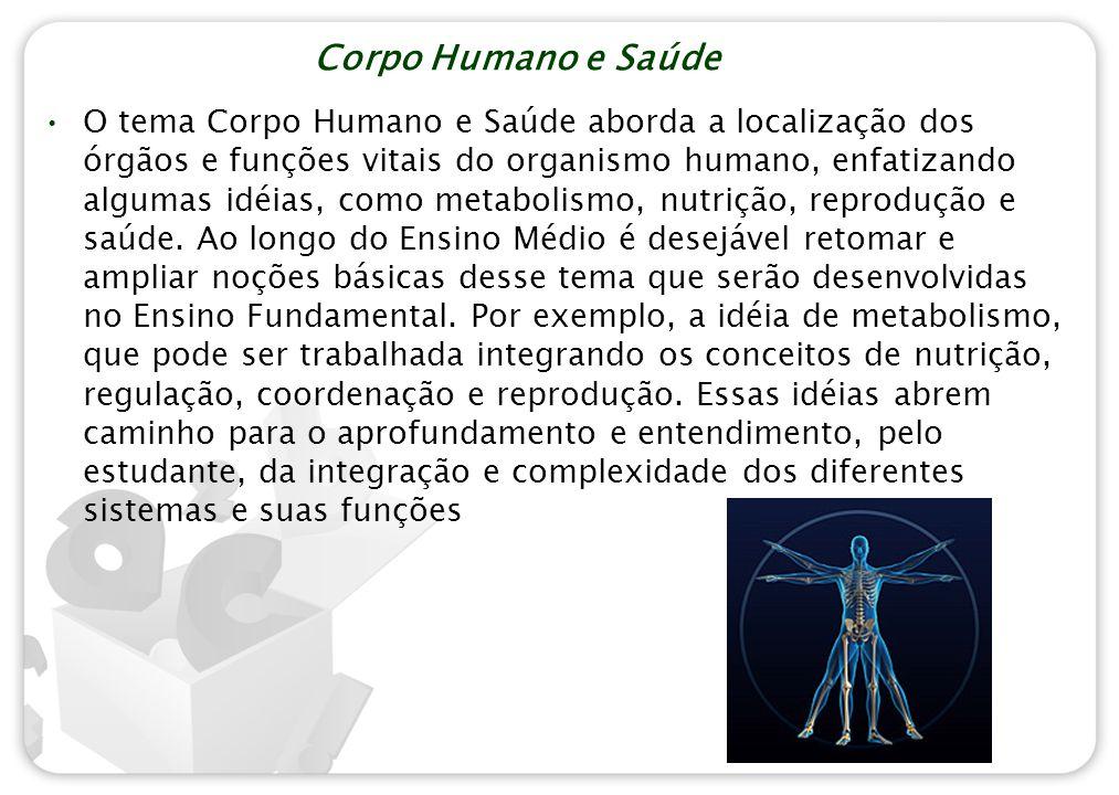 Corpo Humano e Saúde O tema Corpo Humano e Saúde aborda a localização dos órgãos e funções vitais do organismo humano, enfatizando algumas idéias, com