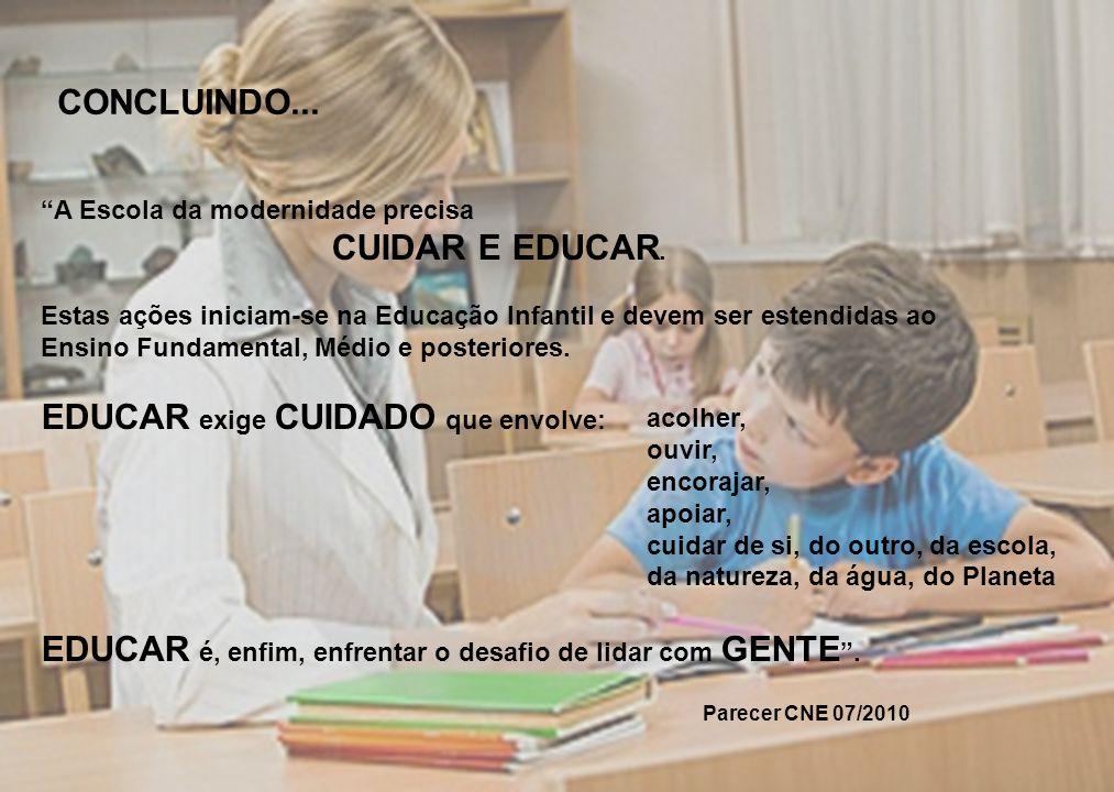 """CONCLUINDO... """"A Escola da modernidade precisa CUIDAR E EDUCAR. Estas ações iniciam-se na Educação Infantil e devem ser estendidas ao Ensino Fundament"""