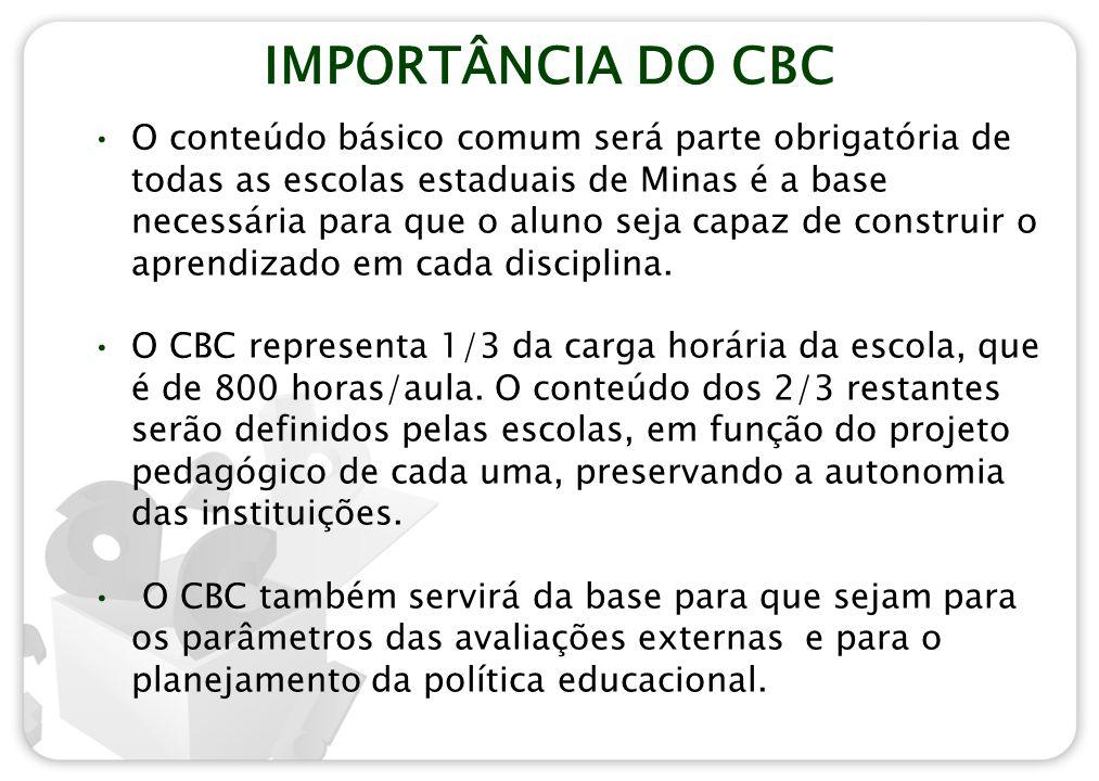 IMPORTÂNCIA DO CBC O conteúdo básico comum será parte obrigatória de todas as escolas estaduais de Minas é a base necessária para que o aluno seja cap