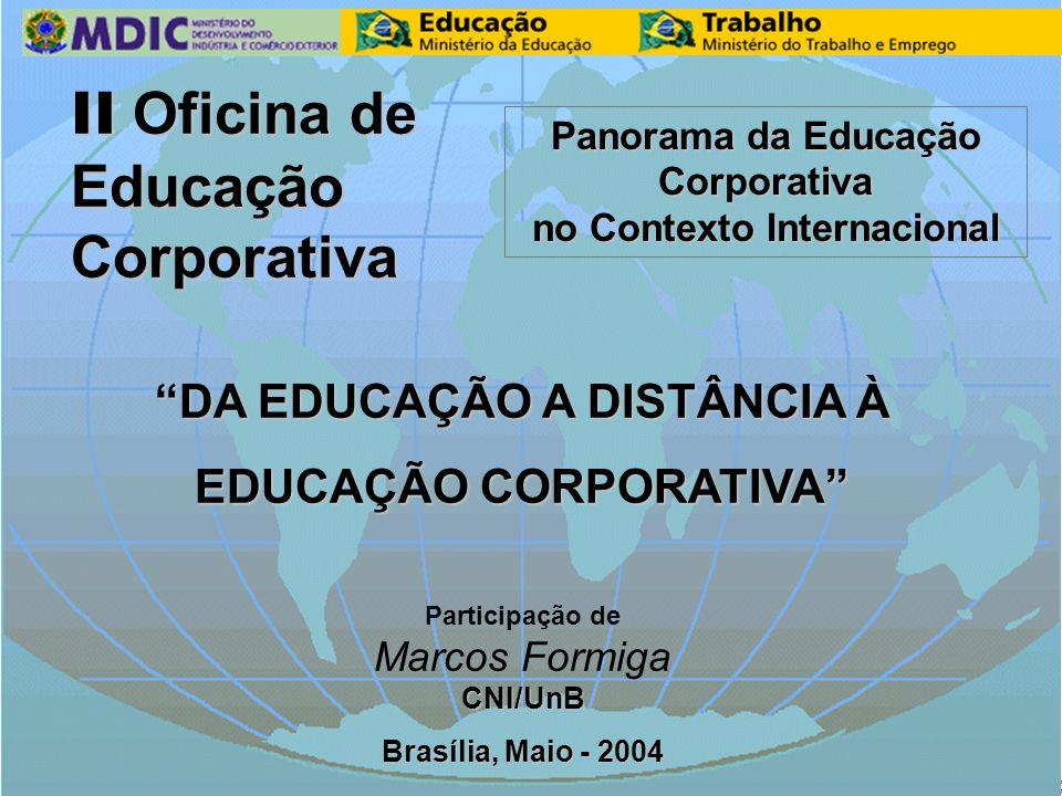 "MDIC / MEC / MTE II OFICINA DE EDUCAÇÃO CORPORATIVA Marcos Formiga II Oficina de II Oficina de Educação Educação Corporativa Corporativa ""DA EDUCAÇÃO"