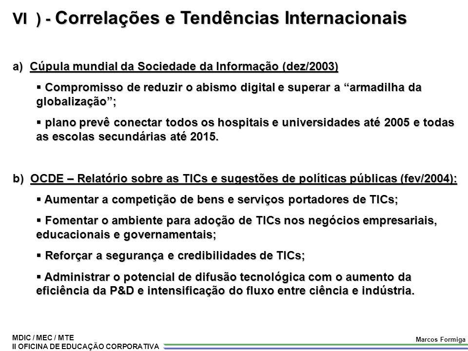 MDIC / MEC / MTE II OFICINA DE EDUCAÇÃO CORPORATIVA Marcos Formiga VI ) - Correlações e Tendências Internacionais a) Cúpula mundial da Sociedade da In