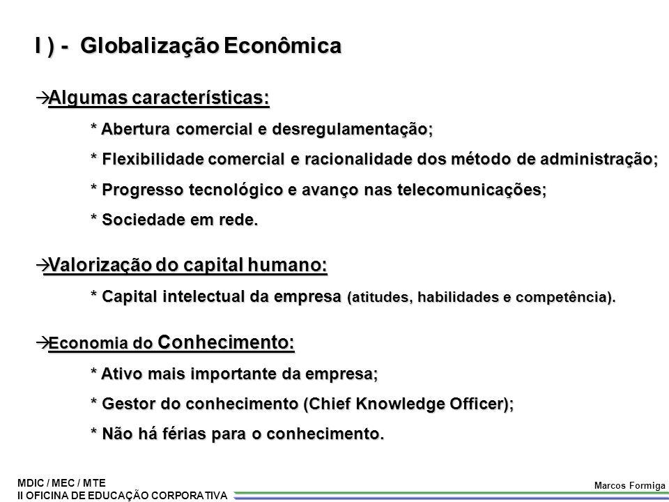MDIC / MEC / MTE II OFICINA DE EDUCAÇÃO CORPORATIVA Marcos Formiga I ) - Globalização Econômica  Algumas características: * Abertura comercial e desr
