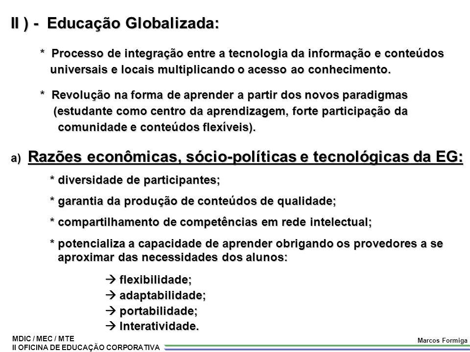 MDIC / MEC / MTE II OFICINA DE EDUCAÇÃO CORPORATIVA Marcos Formiga II ) - Educação Globalizada: * Processo de integração entre a tecnologia da informa