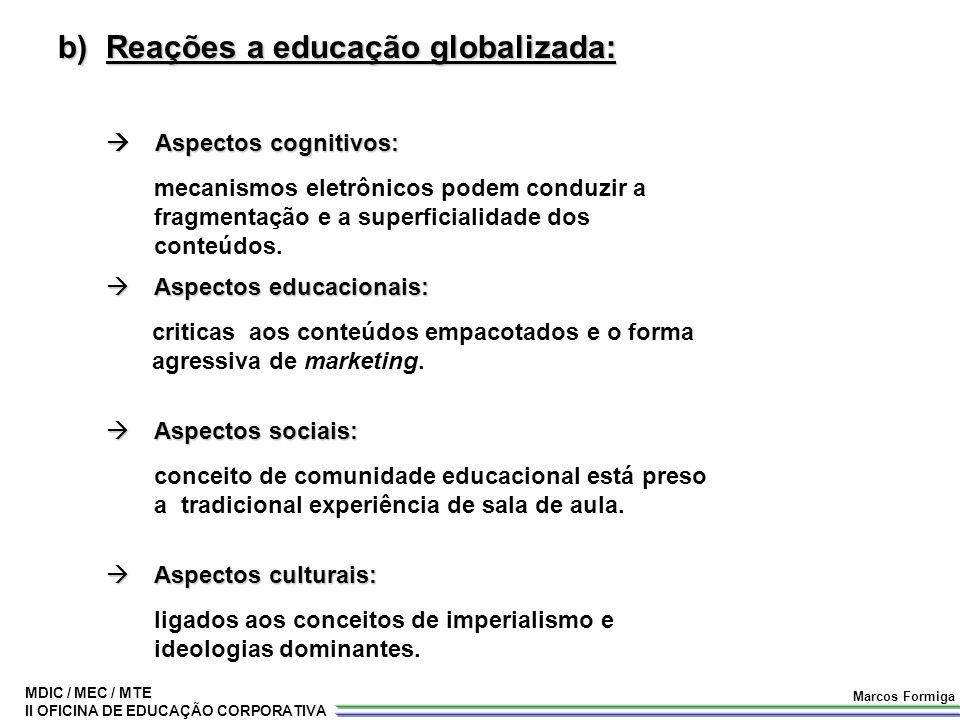 MDIC / MEC / MTE II OFICINA DE EDUCAÇÃO CORPORATIVA Marcos Formiga b)Reações a educação globalizada:  Aspectos cognitivos:  Aspectos cognitivos:  A
