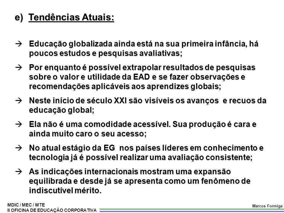 MDIC / MEC / MTE II OFICINA DE EDUCAÇÃO CORPORATIVA Marcos Formiga e) Tendências Atuais:  Educação globalizada ainda está na sua primeira infância, h