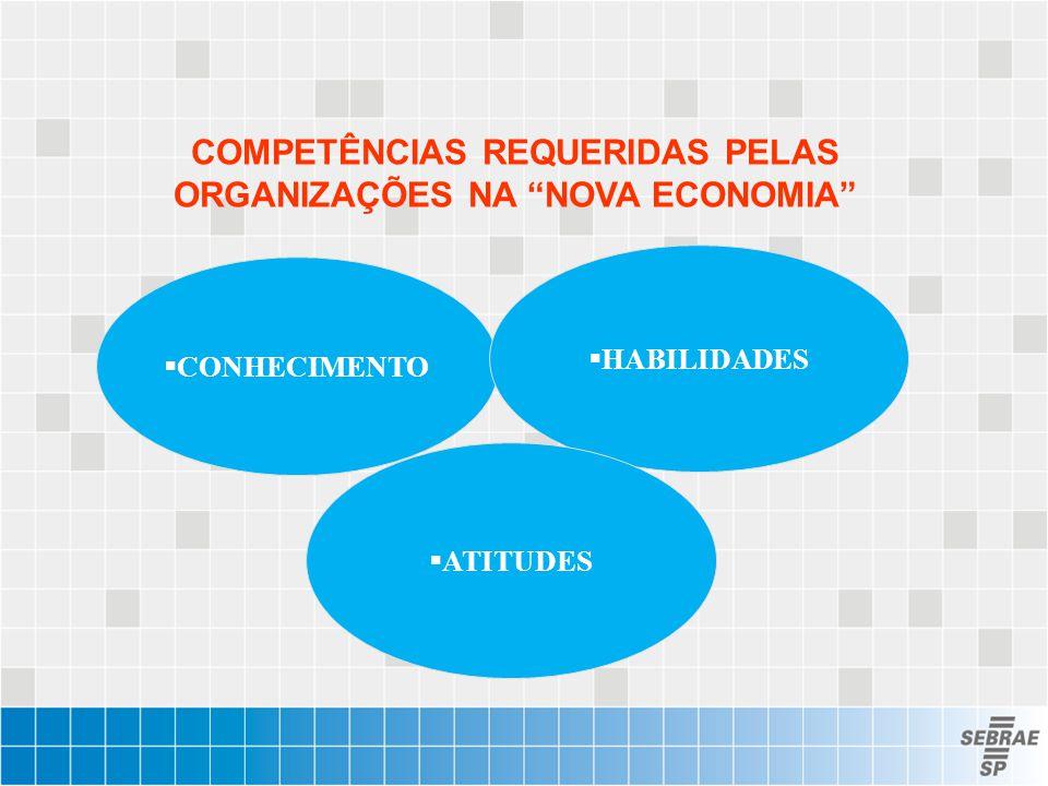 """COMPETÊNCIAS REQUERIDAS PELAS ORGANIZAÇÕES NA """"NOVA ECONOMIA""""  CONHECIMENTO  HABILIDADES  ATITUDES"""