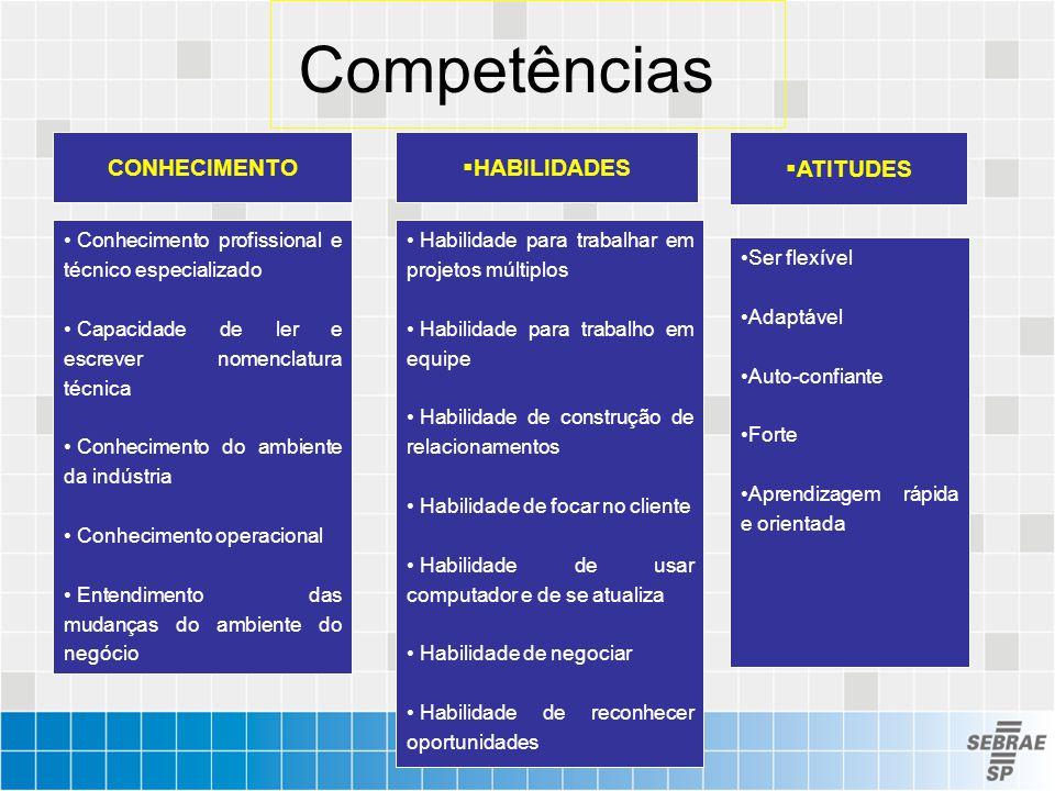 CONHECIMENTO Conhecimento profissional e técnico especializado Capacidade de ler e escrever nomenclatura técnica Conhecimento do ambiente da indústria