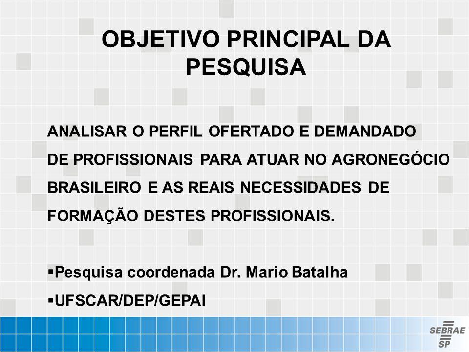OBJETIVO PRINCIPAL DA PESQUISA ANALISAR O PERFIL OFERTADO E DEMANDADO DE PROFISSIONAIS PARA ATUAR NO AGRONEGÓCIO BRASILEIRO E AS REAIS NECESSIDADES DE