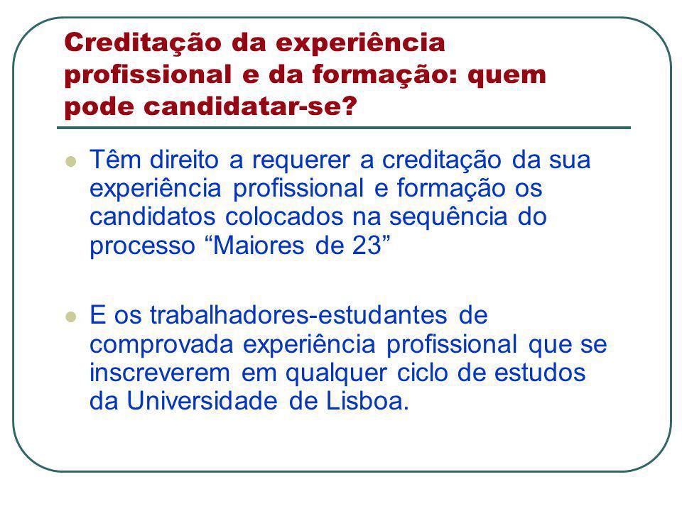 Creditação da experiência profissional e da formação: quem pode candidatar-se.