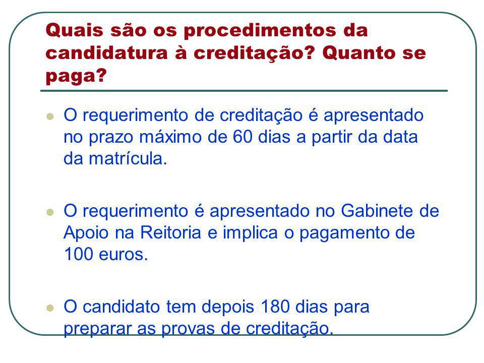 Quais são os procedimentos da candidatura à creditação.