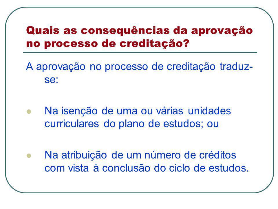 Quais as consequências da aprovação no processo de creditação.