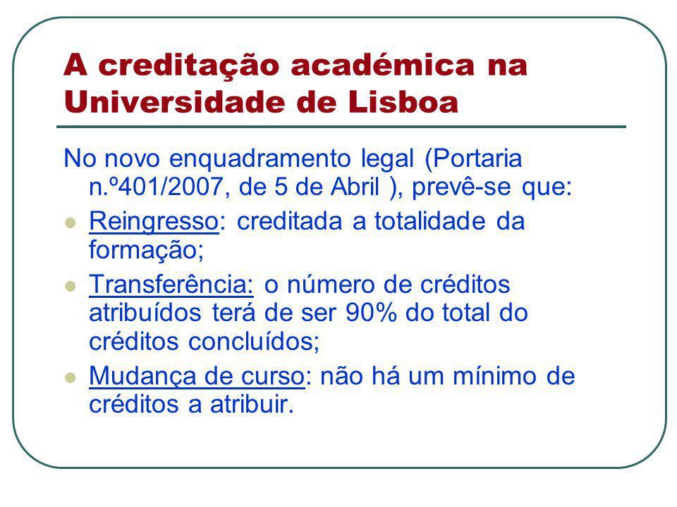 A creditação académica na Universidade de Lisboa No novo enquadramento legal (Portaria n.º401/2007, de 5 de Abril ), prevê-se que: Reingresso: creditada a totalidade da formação; Transferência: o número de créditos atribuídos terá de ser 90% do total do créditos concluídos; Mudança de curso: não há um mínimo de créditos a atribuir.