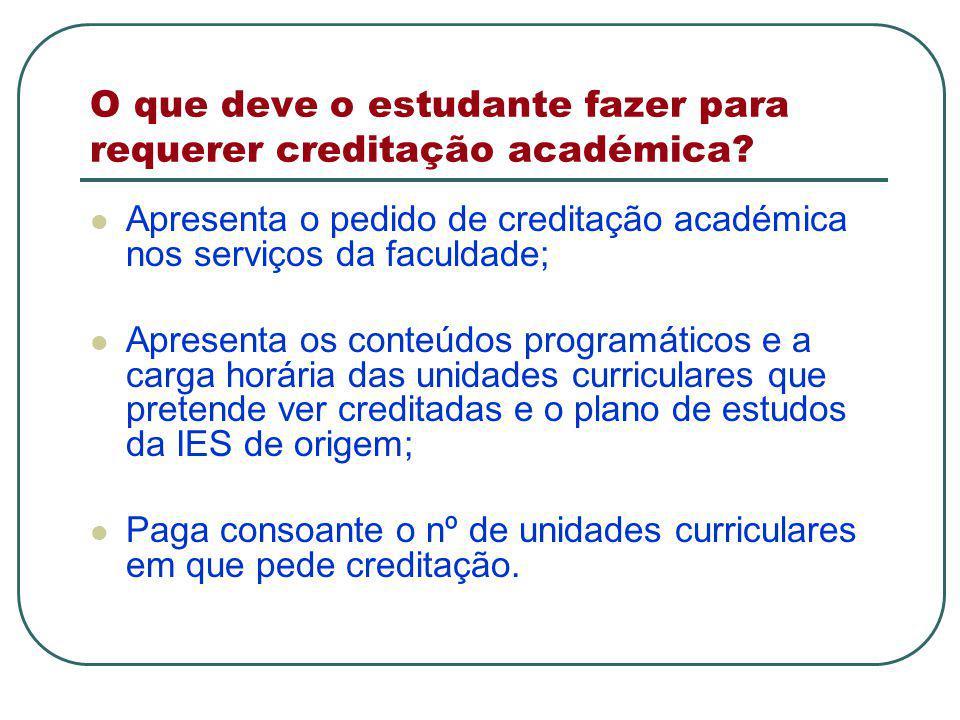 O que deve o estudante fazer para requerer creditação académica.