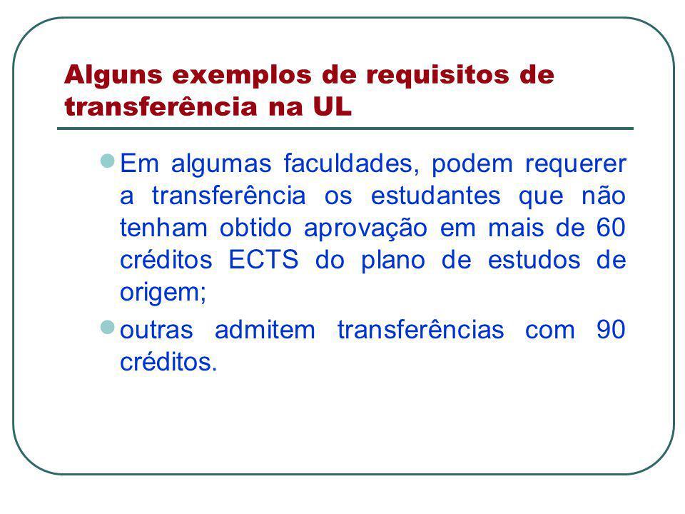 Alguns exemplos de requisitos de transferência na UL  Em algumas faculdades, podem requerer a transferência os estudantes que não tenham obtido aprovação em mais de 60 créditos ECTS do plano de estudos de origem;  outras admitem transferências com 90 créditos.