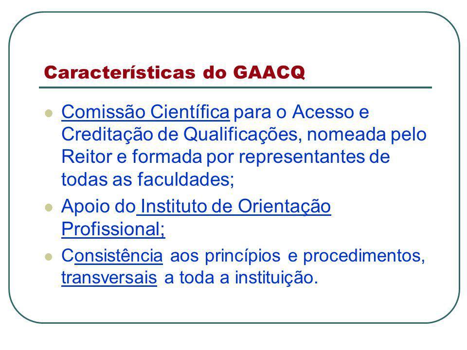Características do GAACQ Comissão Científica para o Acesso e Creditação de Qualificações, nomeada pelo Reitor e formada por representantes de todas as faculdades; Apoio do Instituto de Orientação Profissional; Consistência aos princípios e procedimentos, transversais a toda a instituição.