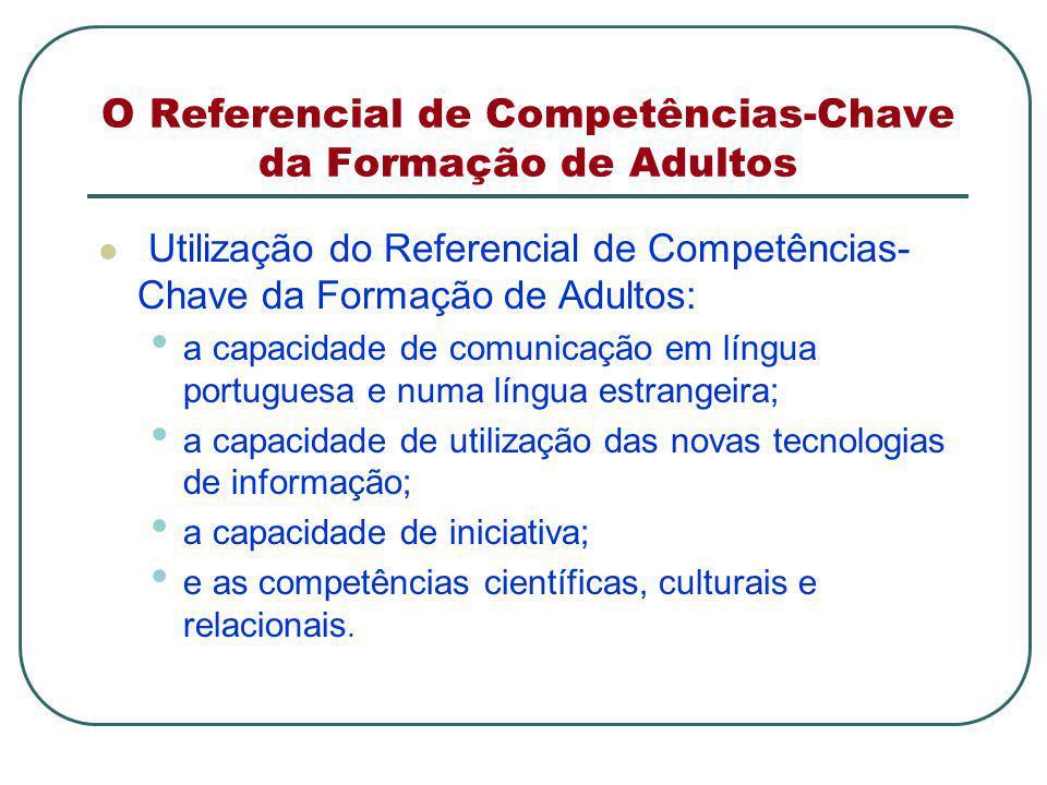 O Referencial de Competências-Chave da Formação de Adultos Utilização do Referencial de Competências- Chave da Formação de Adultos: a capacidade de comunicação em língua portuguesa e numa língua estrangeira; a capacidade de utilização das novas tecnologias de informação; a capacidade de iniciativa; e as competências científicas, culturais e relacionais.