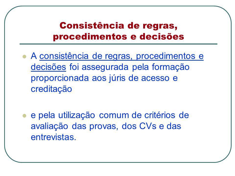 Consistência de regras, procedimentos e decisões A consistência de regras, procedimentos e decisões foi assegurada pela formação proporcionada aos júris de acesso e creditação e pela utilização comum de critérios de avaliação das provas, dos CVs e das entrevistas.