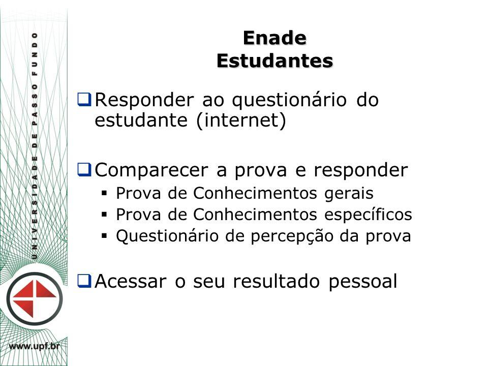 Enade Estudantes  Responder ao questionário do estudante (internet)  Comparecer a prova e responder  Prova de Conhecimentos gerais  Prova de Conhe