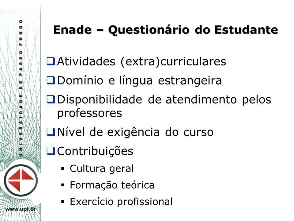 Enade – Questionário do Estudante  Atividades (extra)curriculares  Domínio e língua estrangeira  Disponibilidade de atendimento pelos professores 