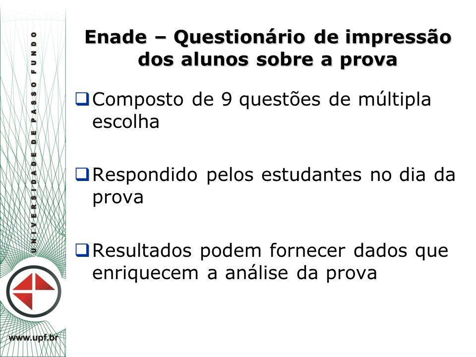 Enade – Questionário de impressão dos alunos sobre a prova  Composto de 9 questões de múltipla escolha  Respondido pelos estudantes no dia da prova