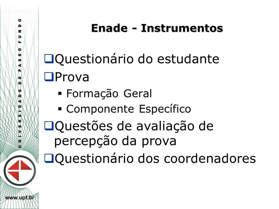 Enade - Instrumentos  Questionário do estudante  Prova  Formação Geral  Componente Específico  Questões de avaliação de percepção da prova  Ques