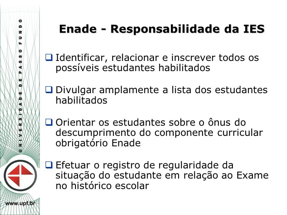 Enade - Responsabilidade da IES  Identificar, relacionar e inscrever todos os possíveis estudantes habilitados  Divulgar amplamente a lista dos estu