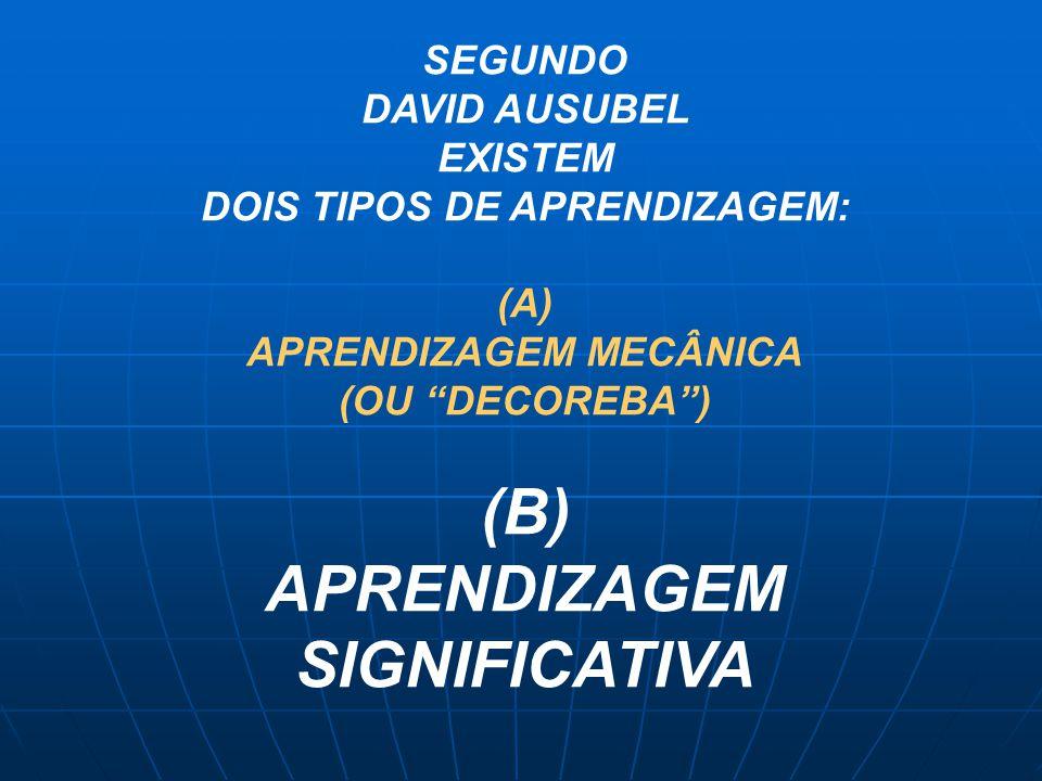 """SEGUNDO DAVID AUSUBEL EXISTEM DOIS TIPOS DE APRENDIZAGEM: (A) APRENDIZAGEM MECÂNICA (OU """"DECOREBA"""") (B) APRENDIZAGEM SIGNIFICATIVA"""
